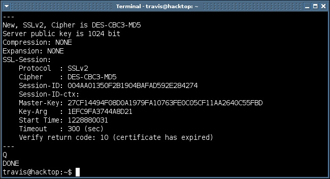 successful output from ssl2 option in openssl