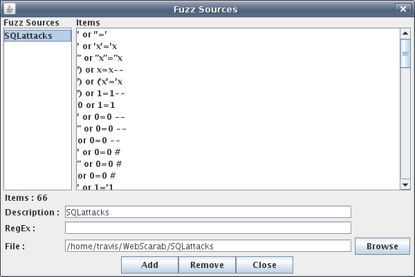 Choosing SQL injection dictionary as a fuzz source