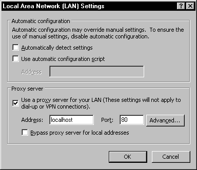 Proxy server settings for internet explorer