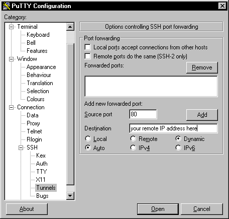Putty port forwarding configuration page