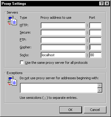 Socks settings for internet explorer