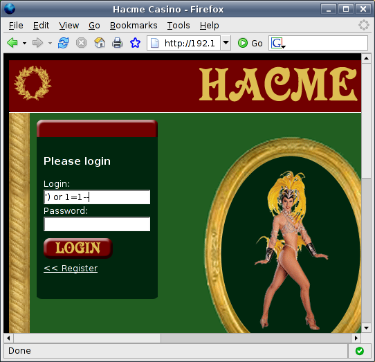 SQL injection on Hacme Casino username