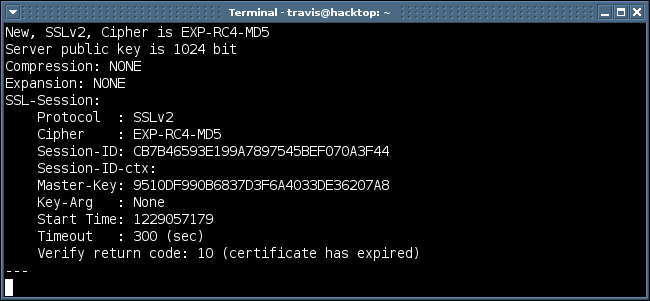 fingerprinting the weakest SSL2 cipher